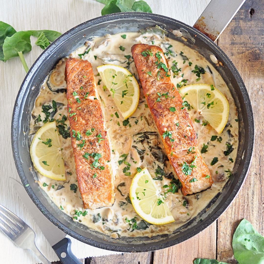 Seared Salmon with Creamy Spinach & Mushroom Sauce