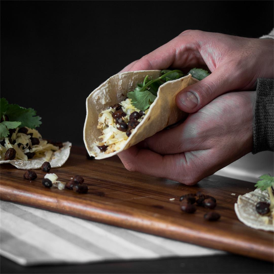 Breakfast Tacos with Spiced Black Beans