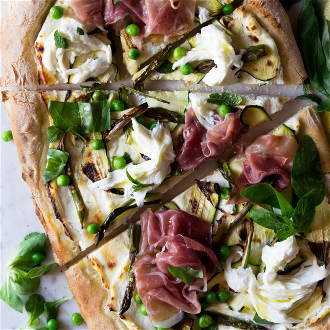 Spring Pizza with Zucchini, Prosciutto and Buffalo Mozzarella