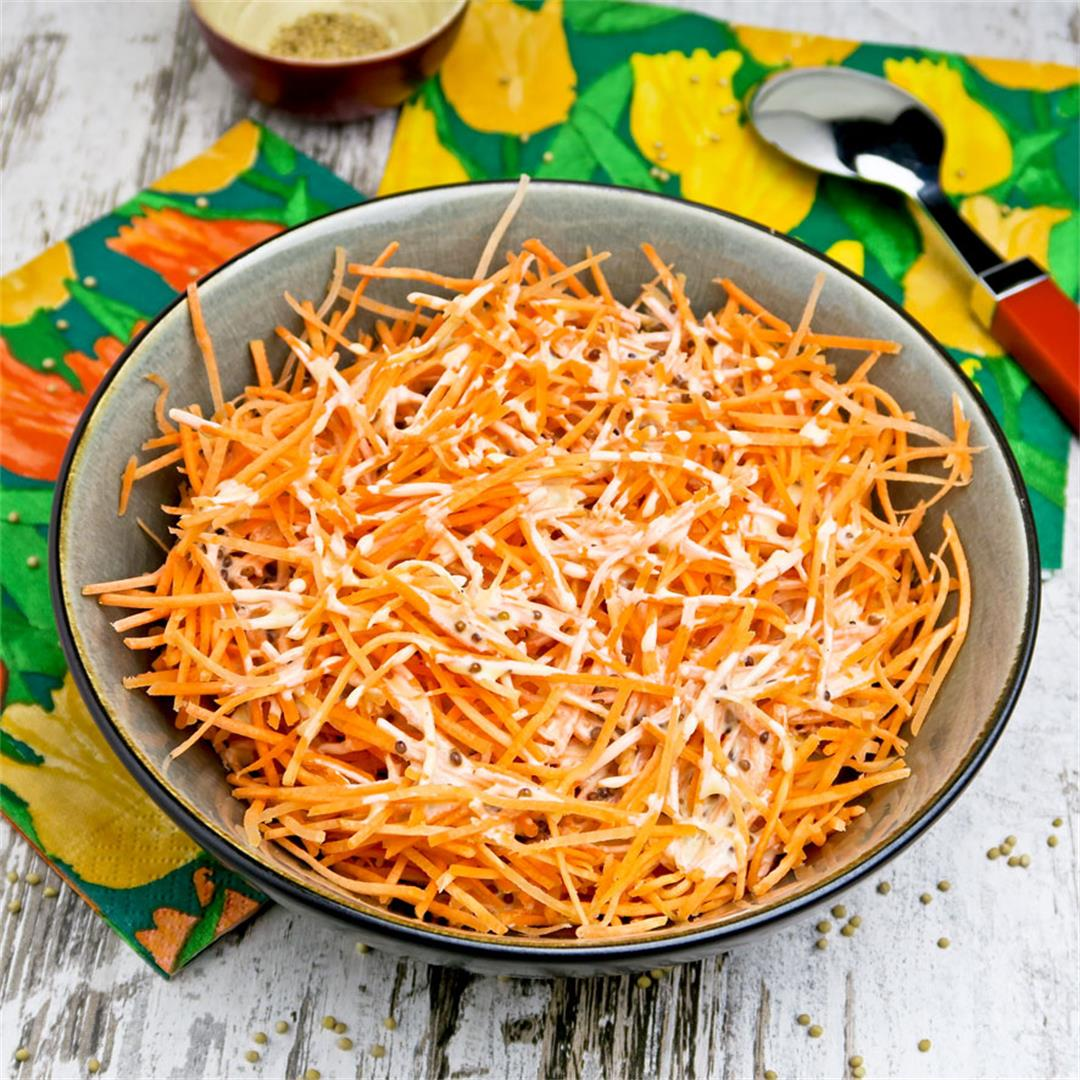 Grated carrot salad with a honey and mustard dressing