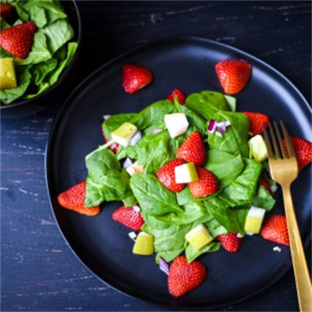 Spinach and Strawberry Salad with Candies Walnuts