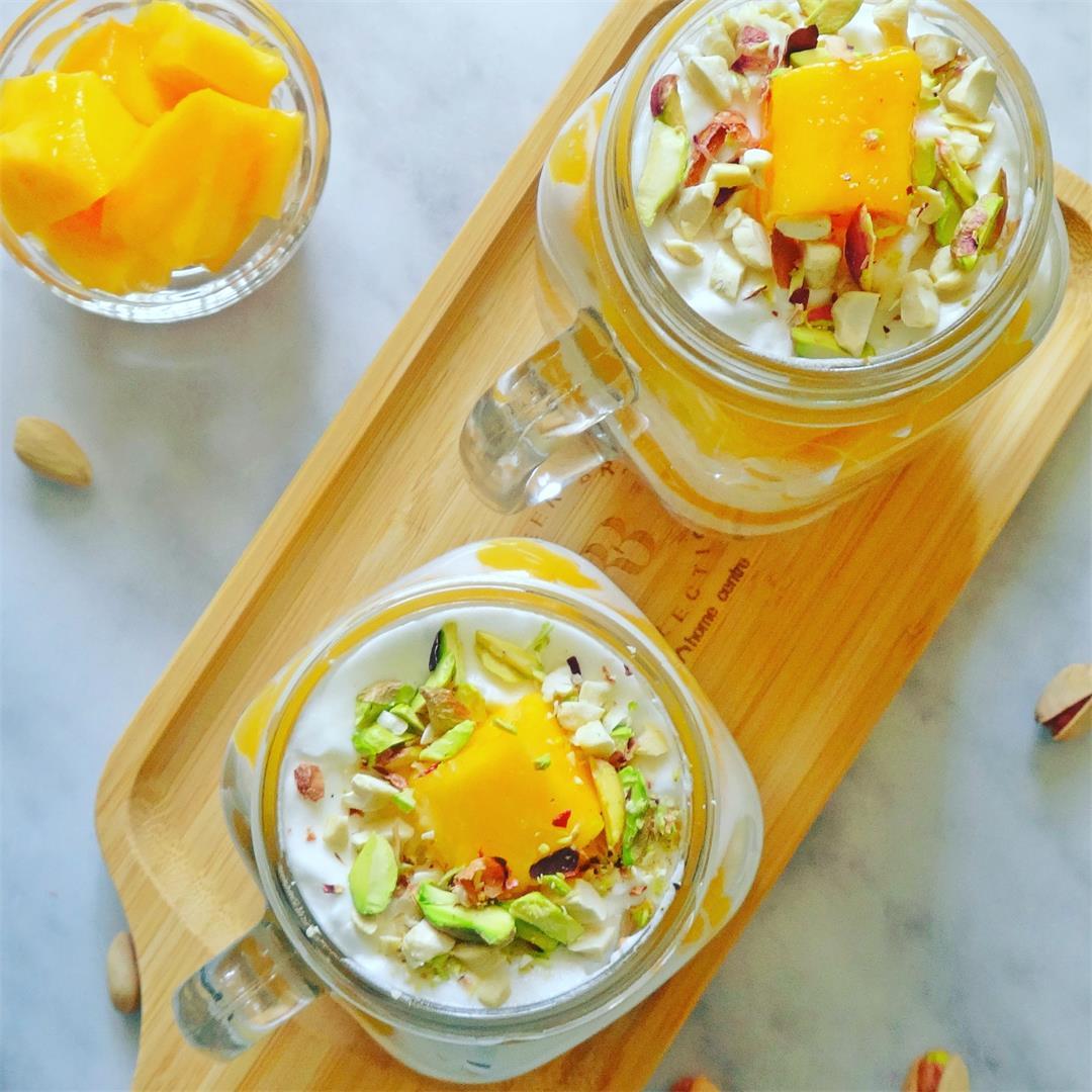 Layered Mango & Cream dessert - Fusion Recipes