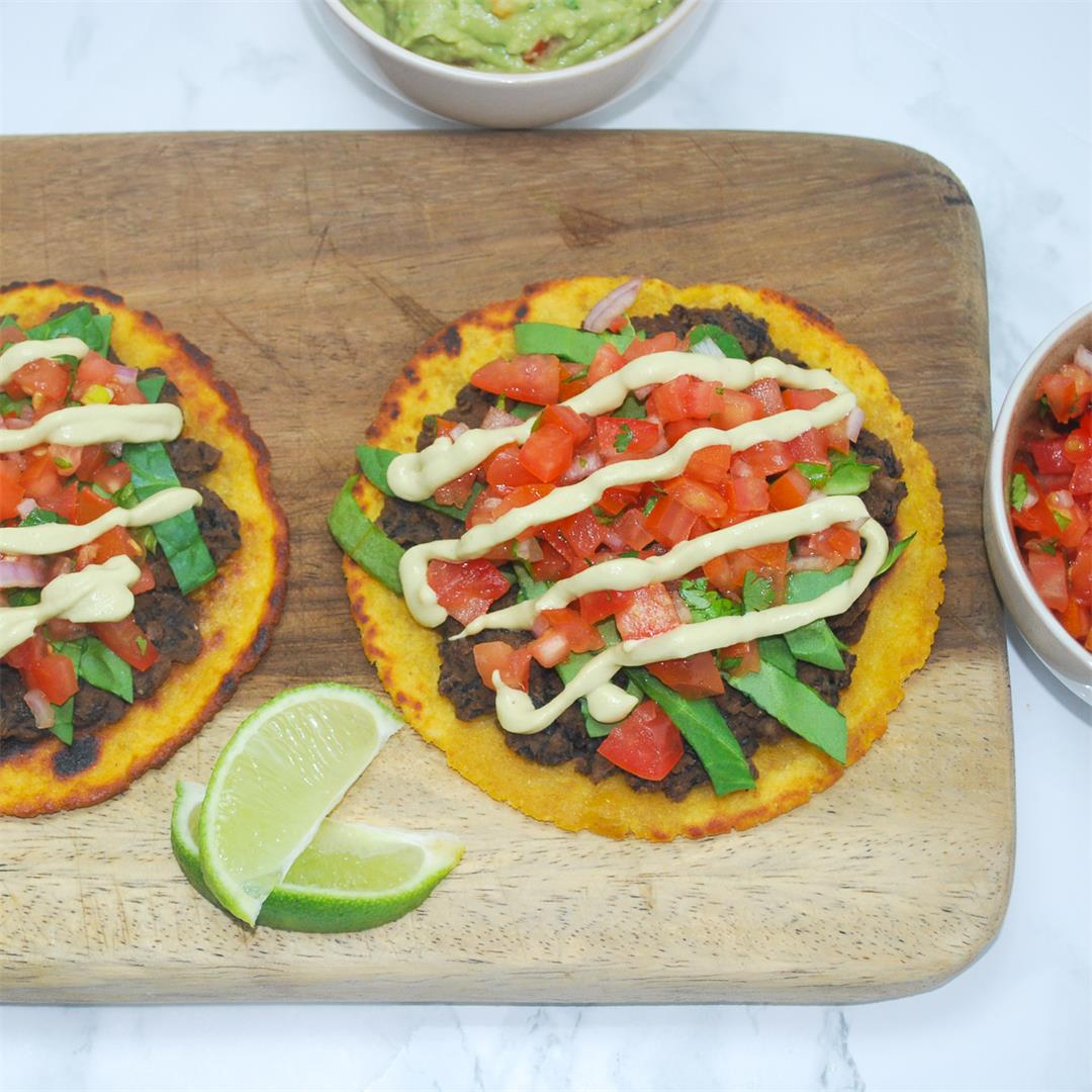 Vegan Black Bean Tostadas with Gaucamole and Pico de Gallo
