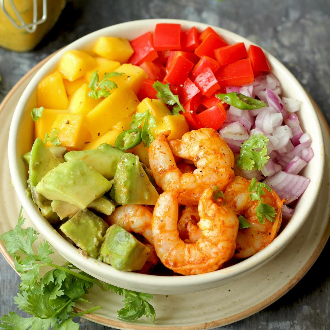 Shrimp Mango Avocado Salad With Cilantro Dressing