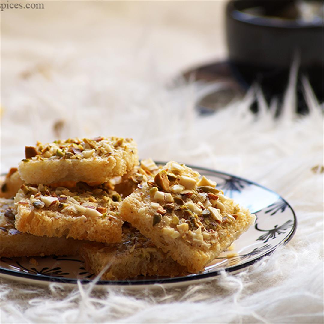Crispy Sweet Bread Toast with Cardamom and Nuts.