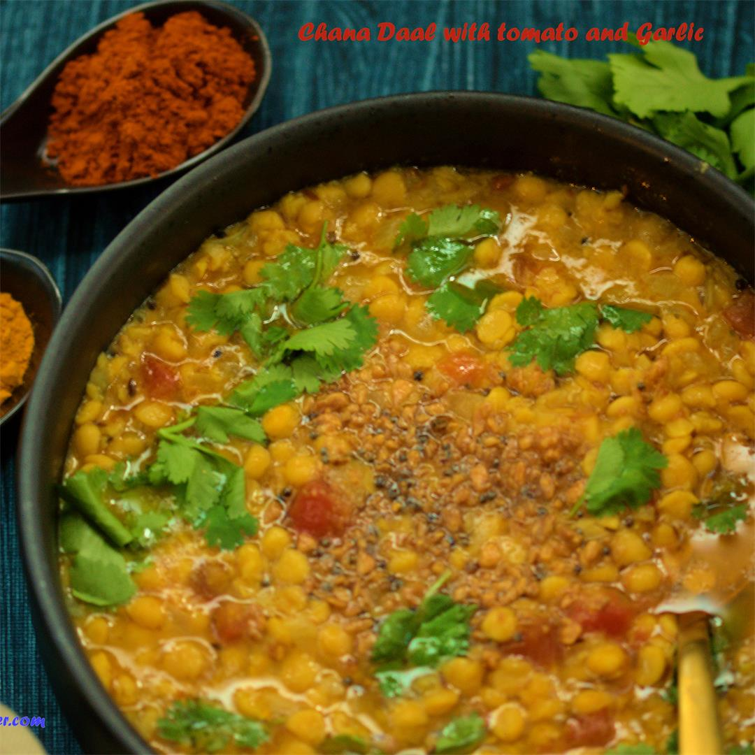 Chana Daal/Yellow Lentils with Tomatoes and Garlic