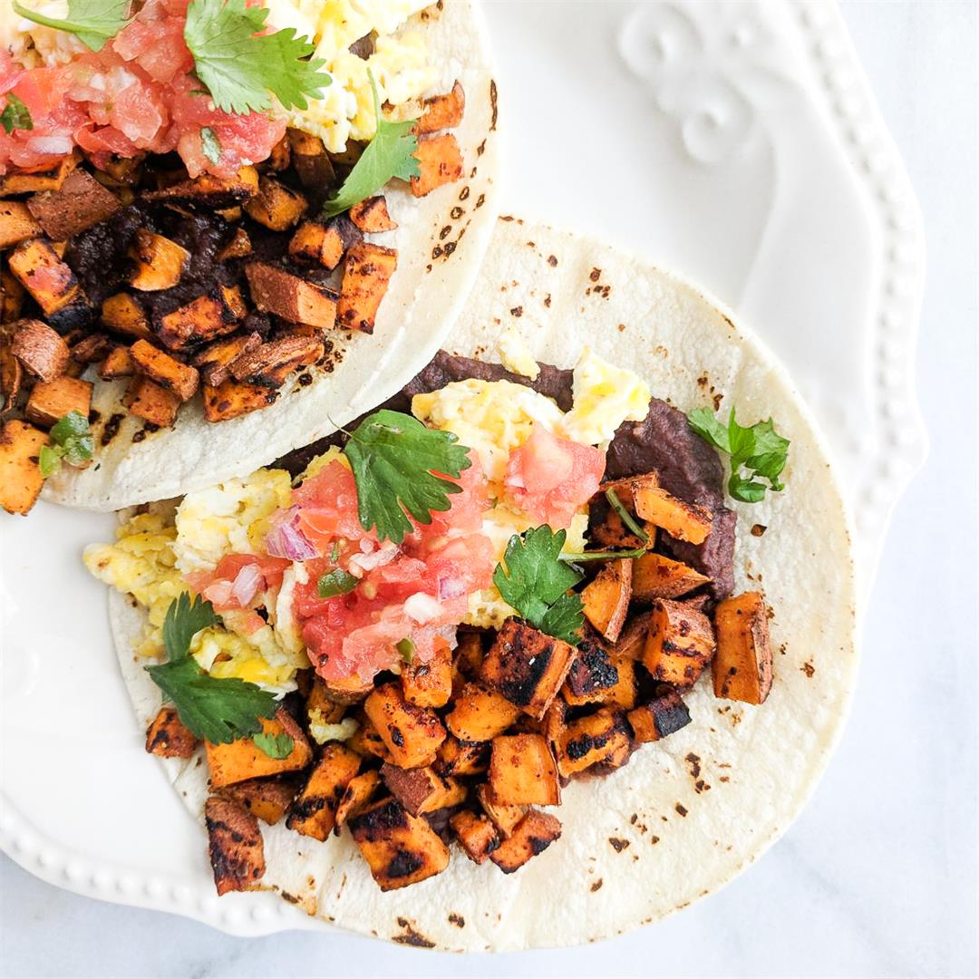 Breakfast Tacos with Homemade Salsa - so quick and easy!