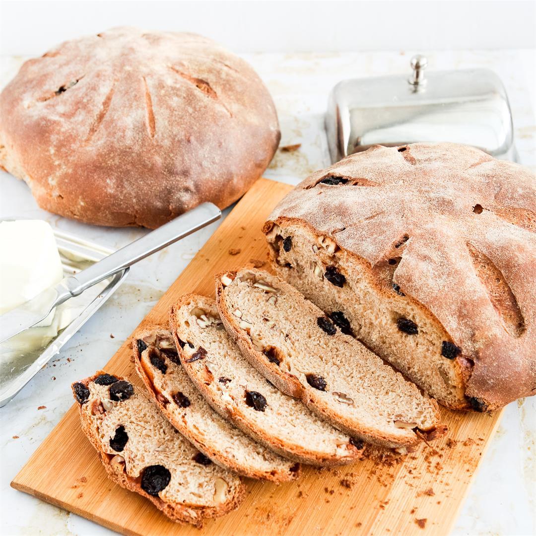 Whole Wheat Raisin Walnut Bread Recipe