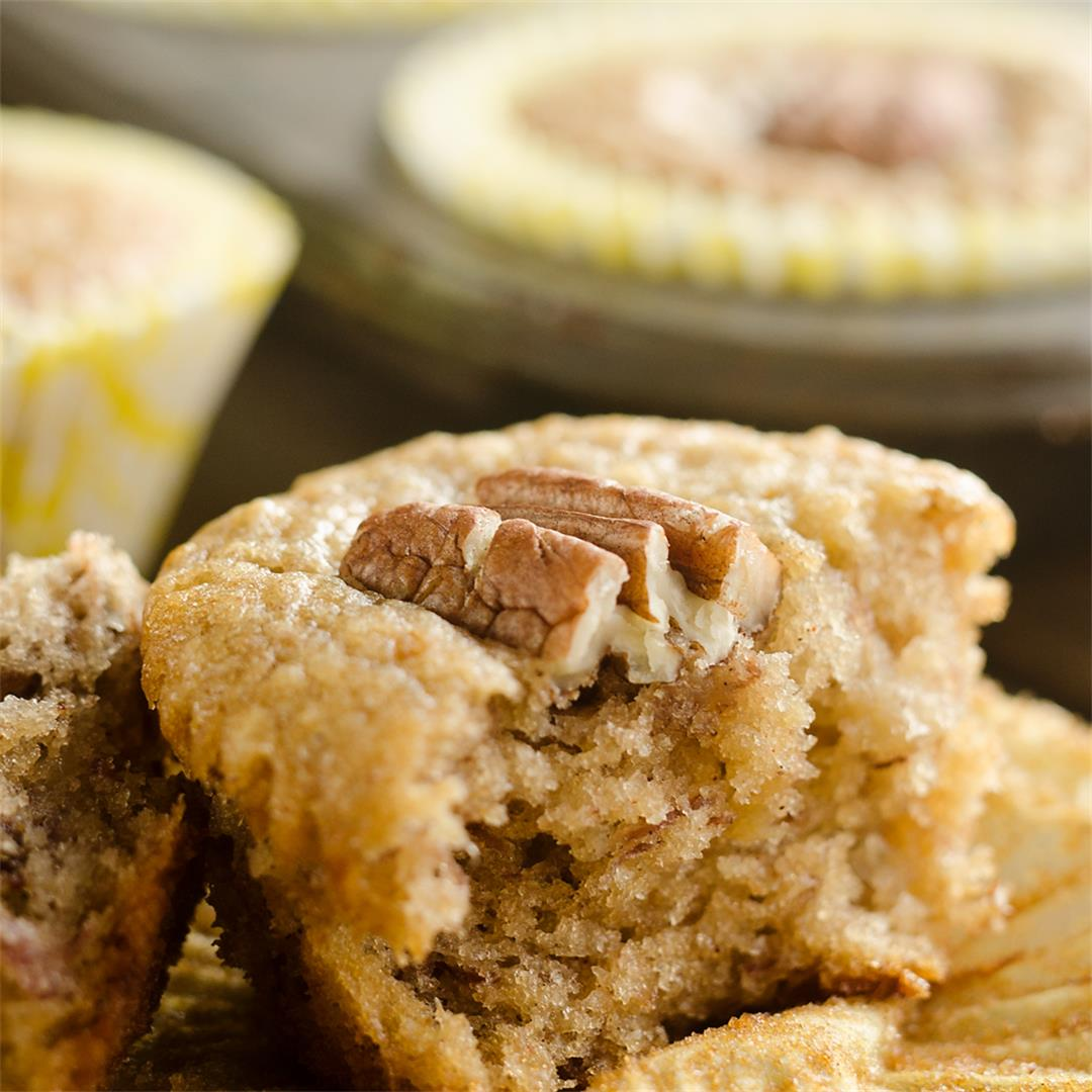 Cinnamon Pecan Banana Bread Muffins