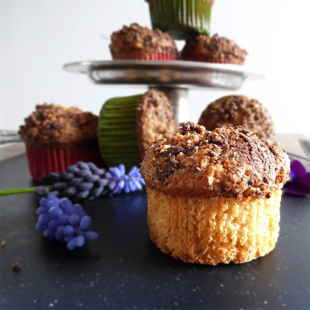 Gluten Free Vanilla Muffins with a Dark Chocolate and Hazelnut