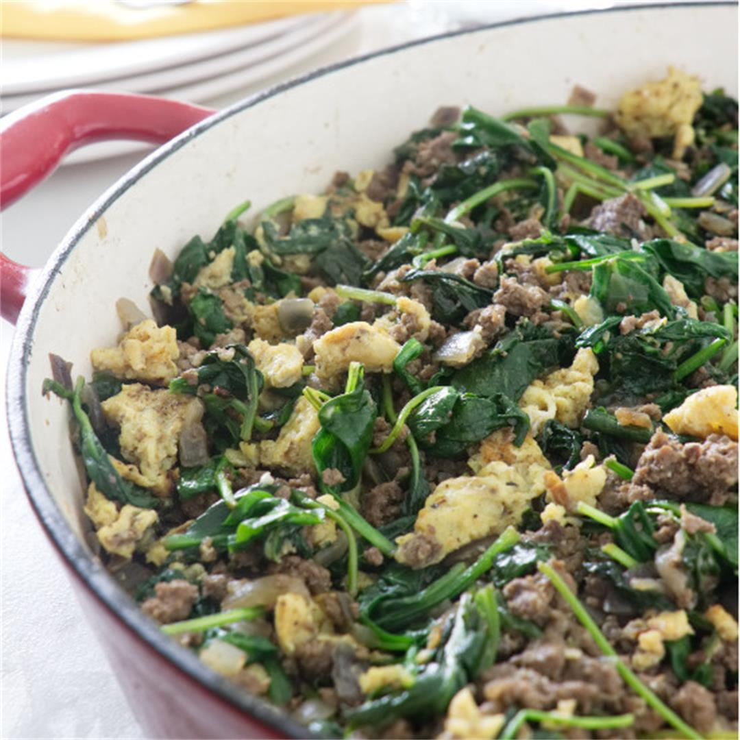 spinach beef and egg breakfast hash