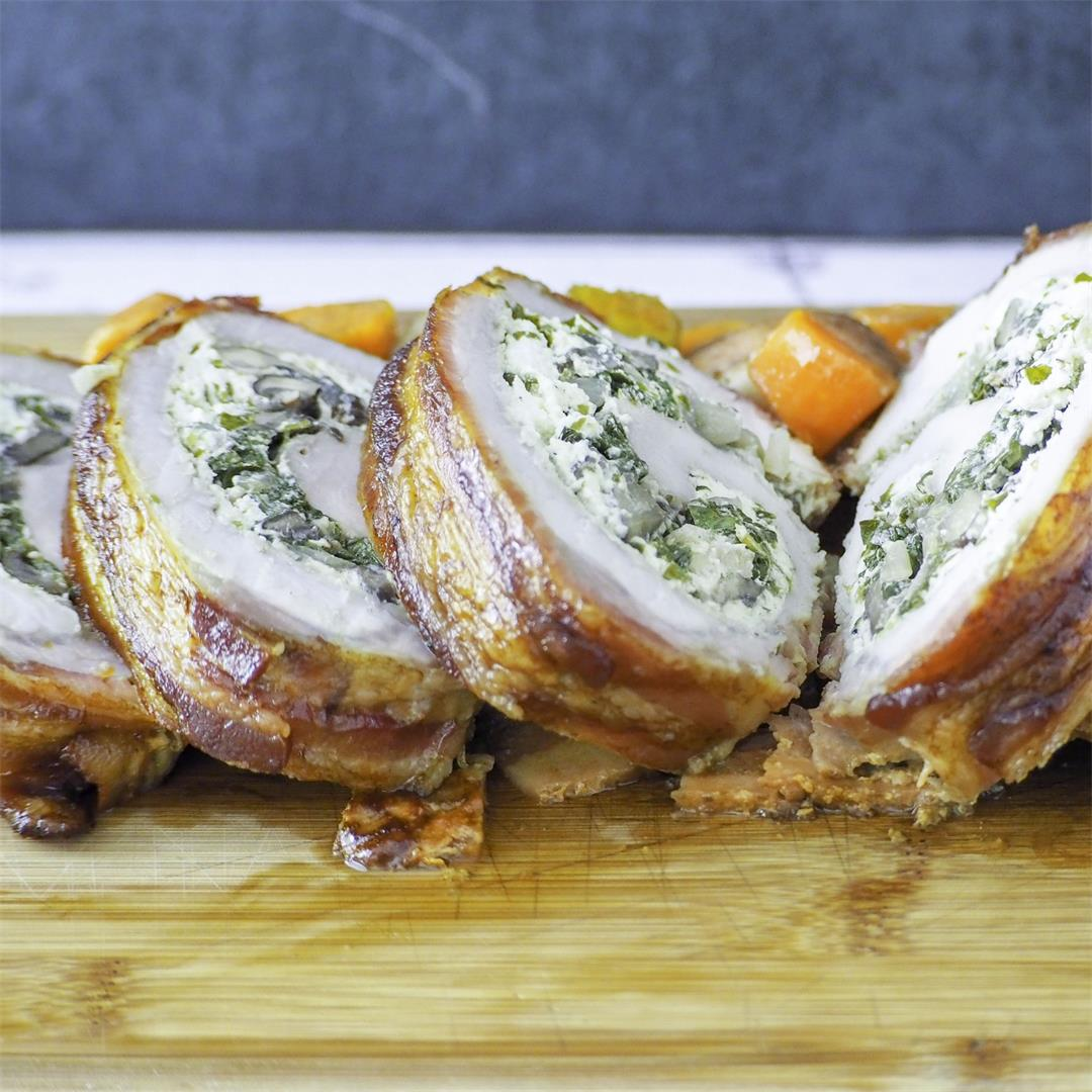 Bacon Wrapped Pork Loin Stuffed with Herbed Goat Cheese