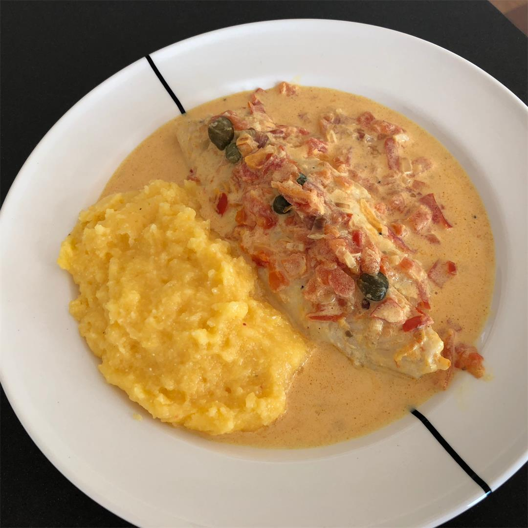 Pangasius fillet with saffron sauce