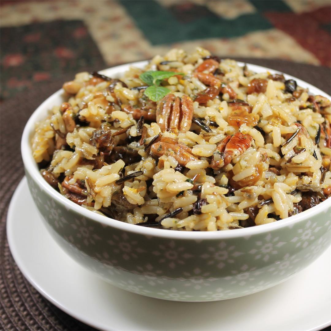 Wild Rice Salad with pecans, raisins, mint, orange zest