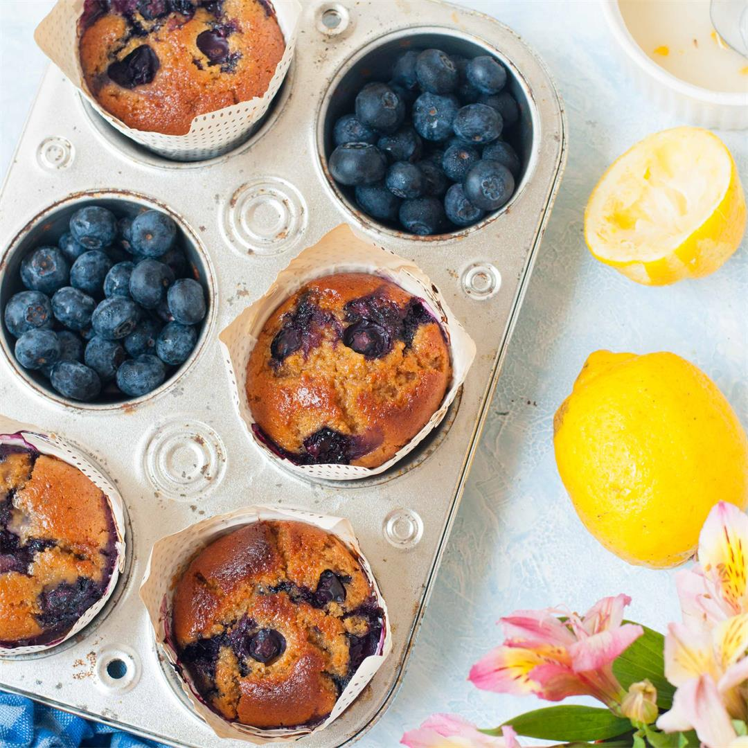 Healthy Whole Wheat Blueberry Lemon Muffins