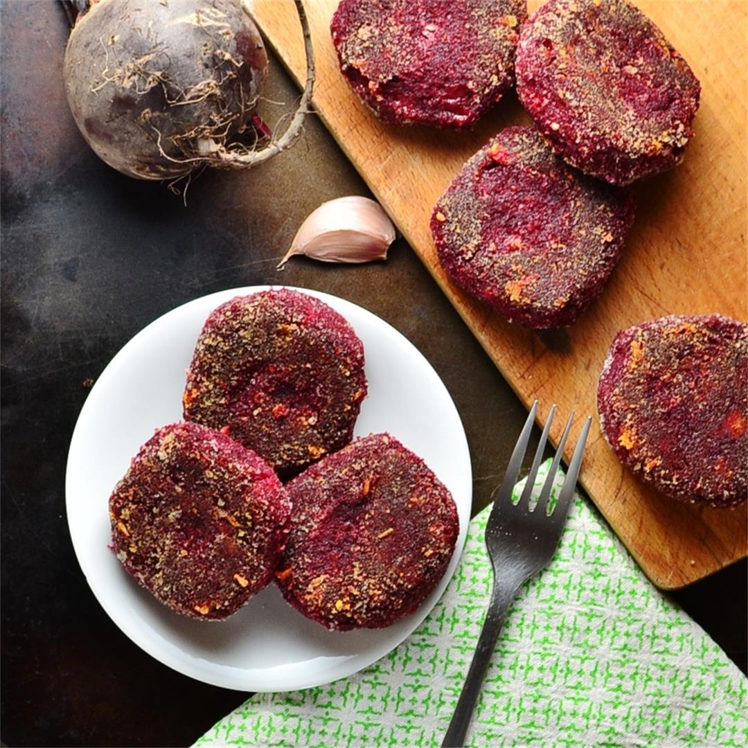 Beetroot Polenta Cakes with Cheese