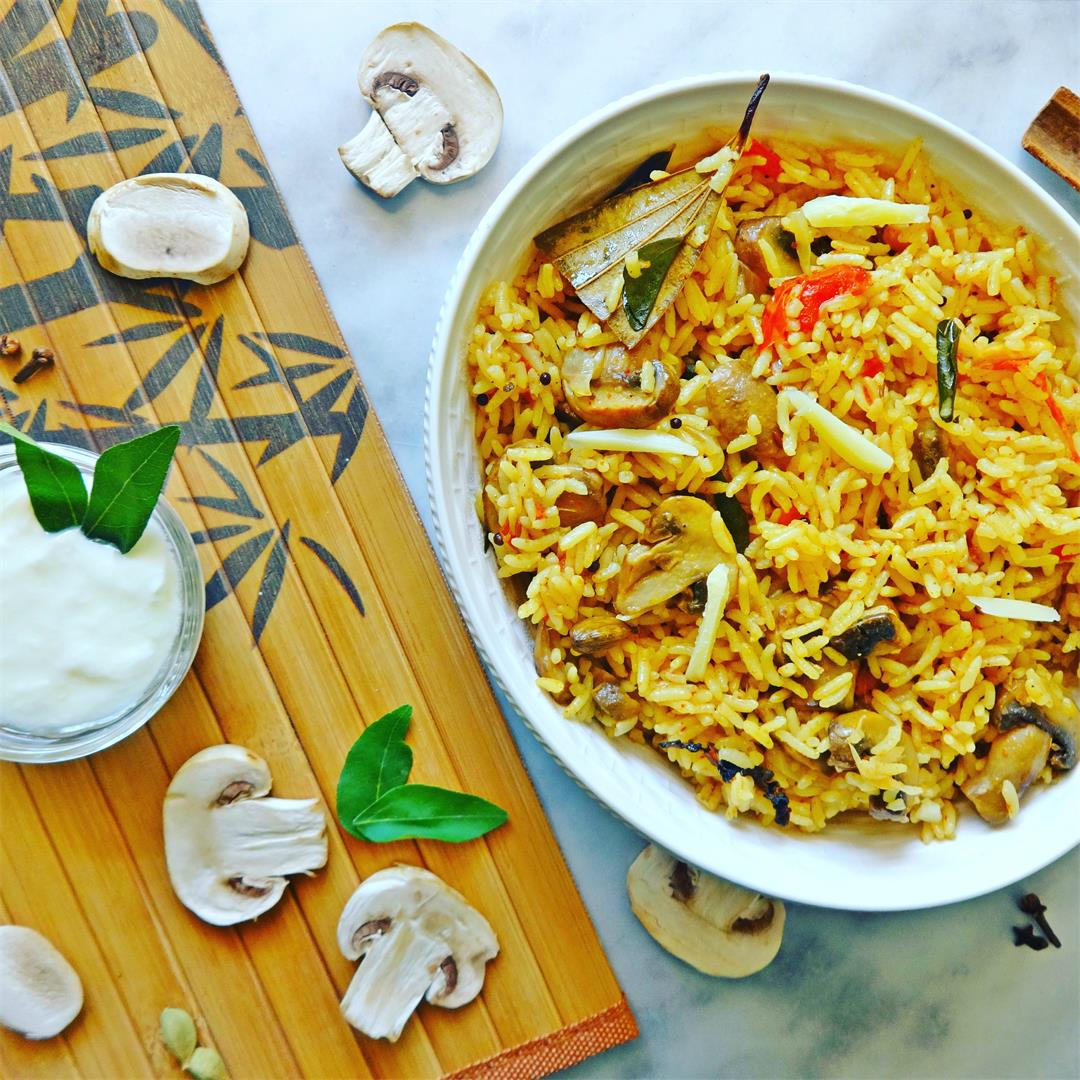Mushroom Rice Recipe (with Home made Spices)