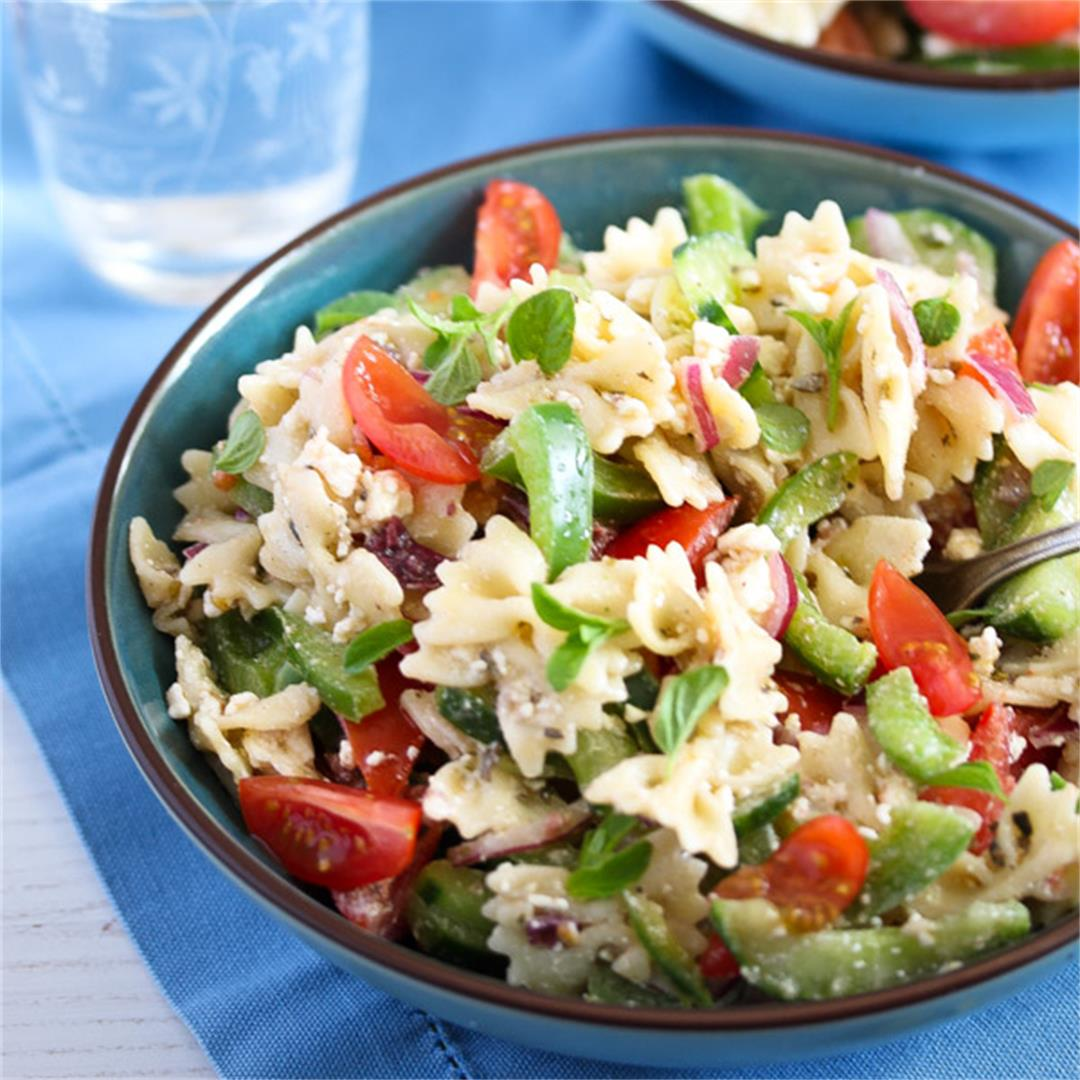 Greek Pasta Salad – with Green Bell Pepper and Feta