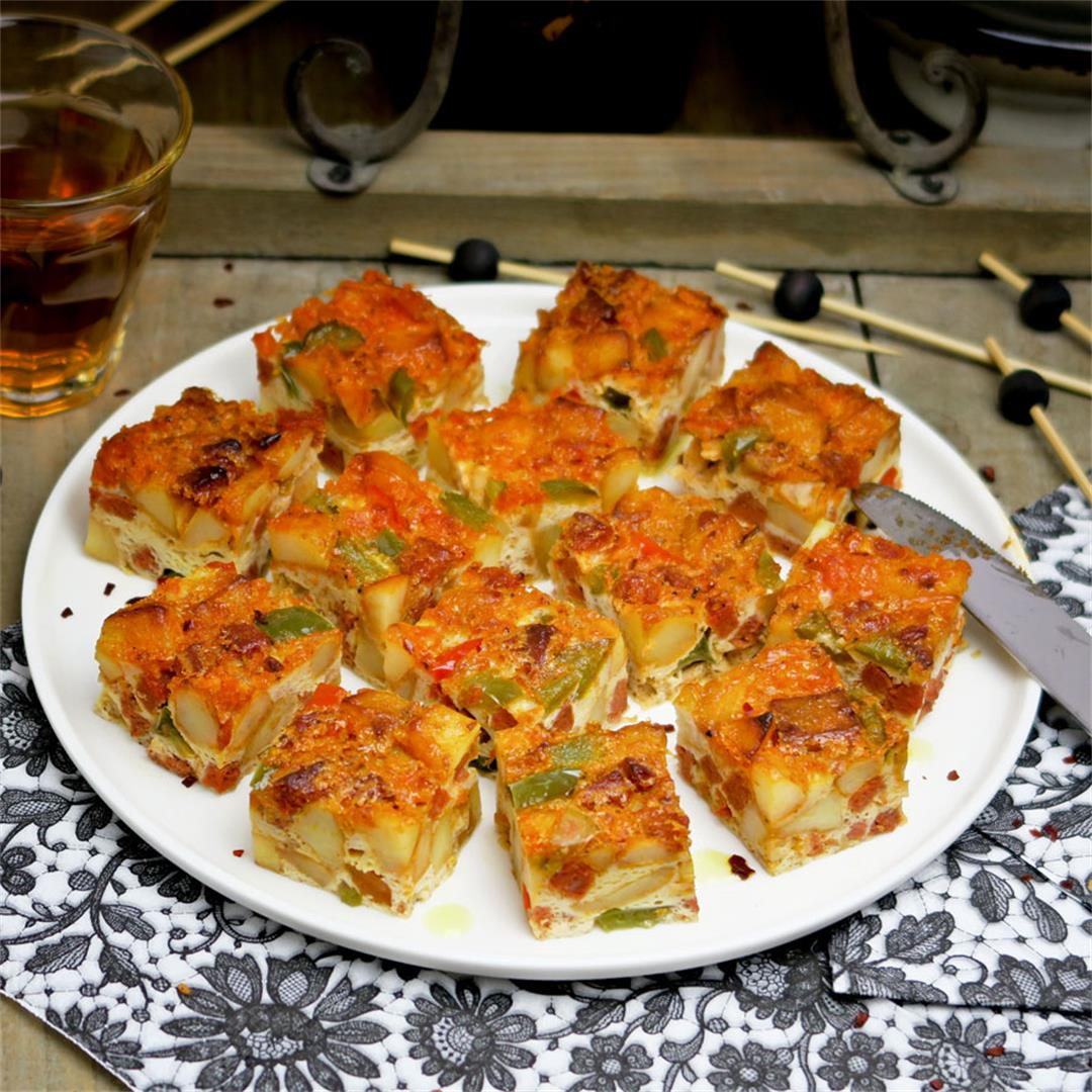 Spanish tortilla with potatoes, chorizo and peppers