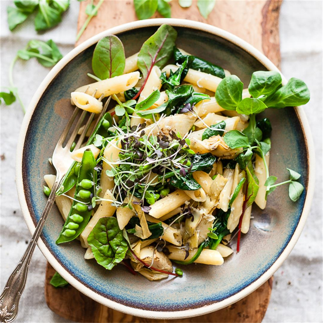 Artichoke Pasta With Spinach, Peas And Lemon