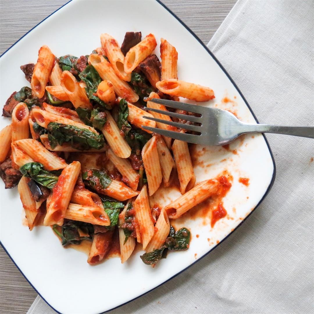 Roasted Eggplant & Spinach Penne