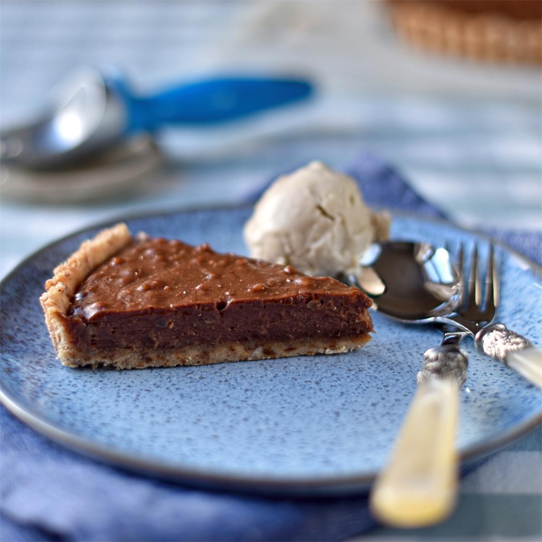 peanut butter and chocolate tart with roast banana ice cream