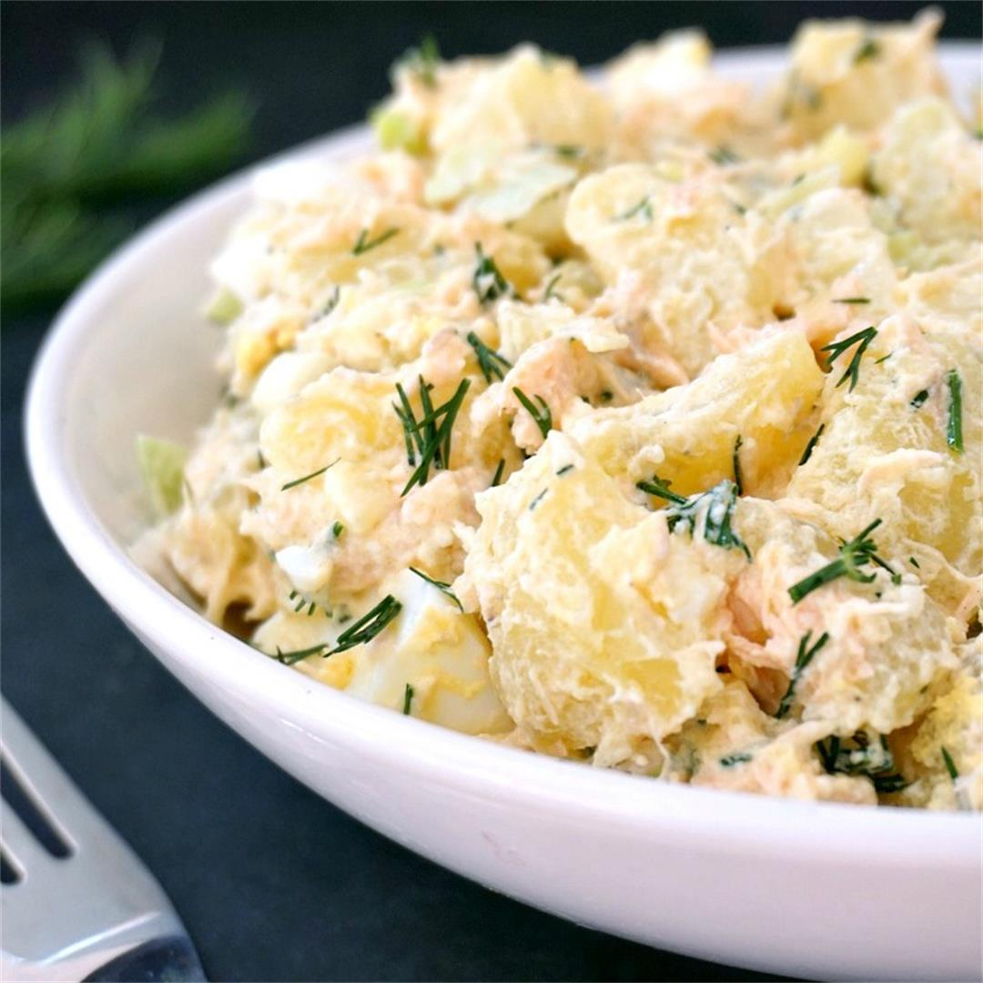 Deviled Egg Potato Salad with Baked Salmon