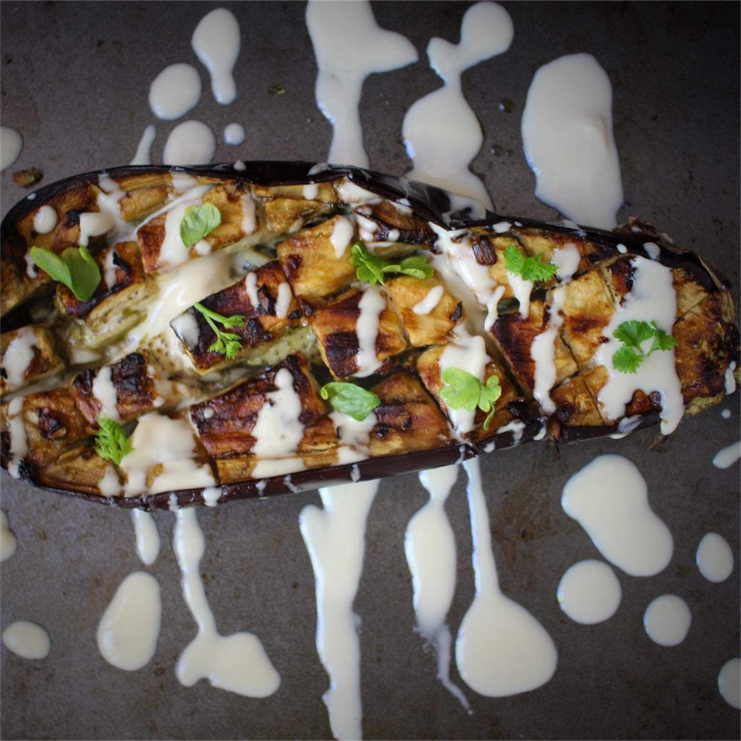 Garlic & Lemon Roasted Eggplant with Tahini Sauce