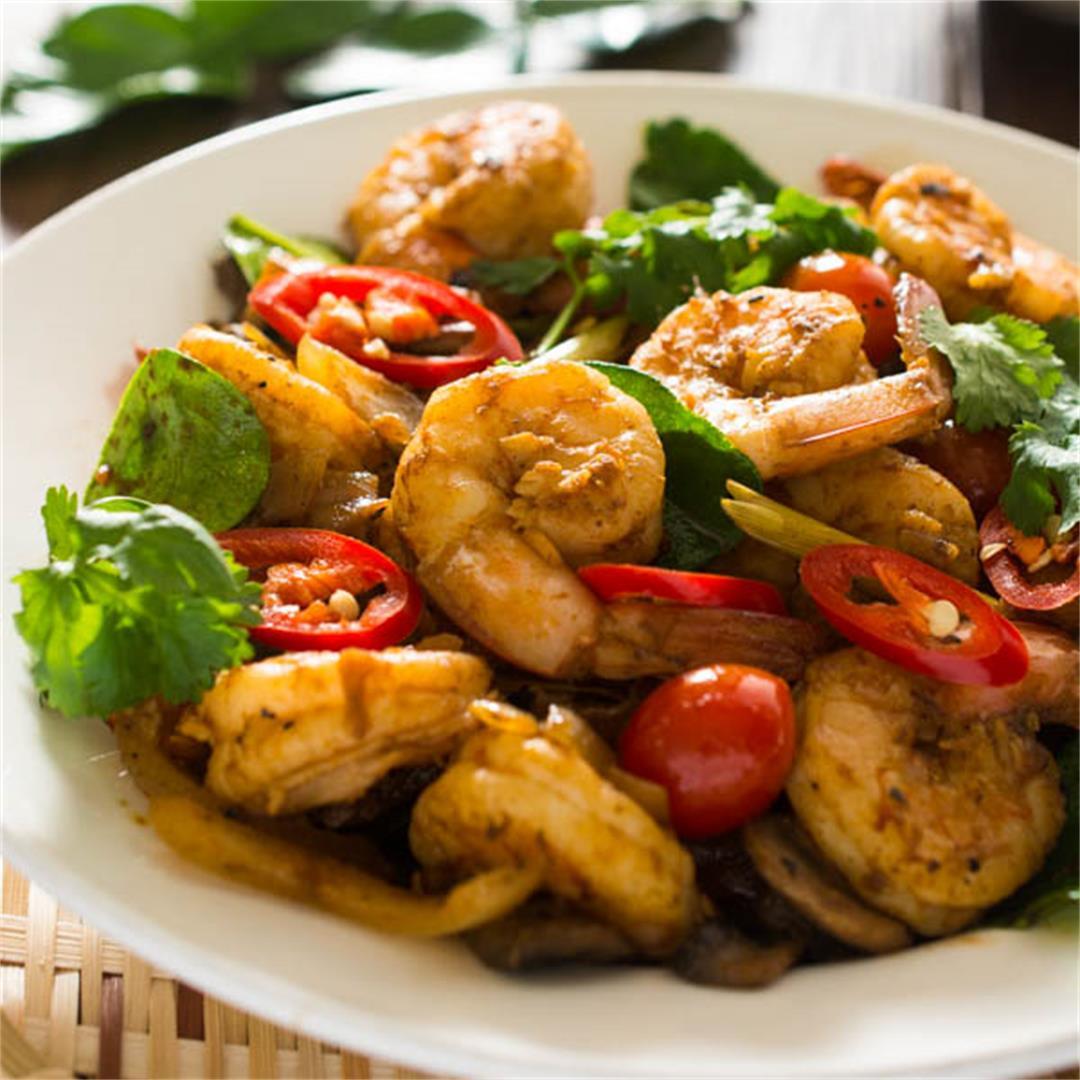 Thai Tom Yum Shrimp Stir Fry