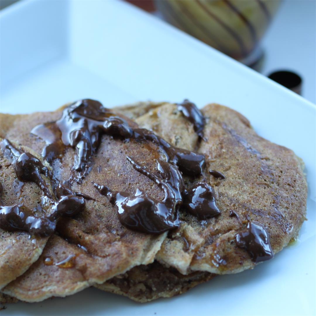 Almond and Oat Pancakes w/ Chocolate Almond Drizzle (Vegan, GF)