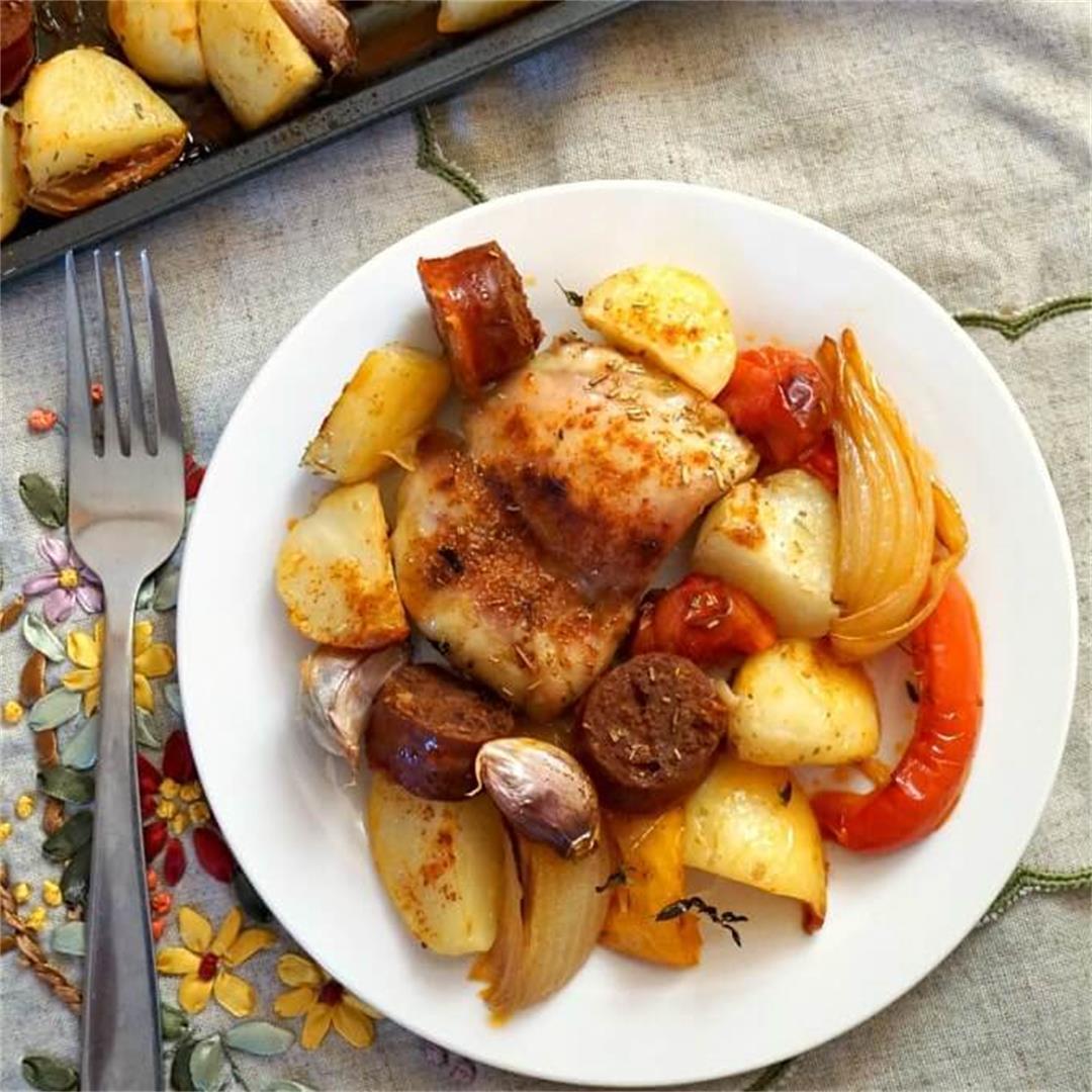 Sheet Pan Spanish Chicken with Chorizo