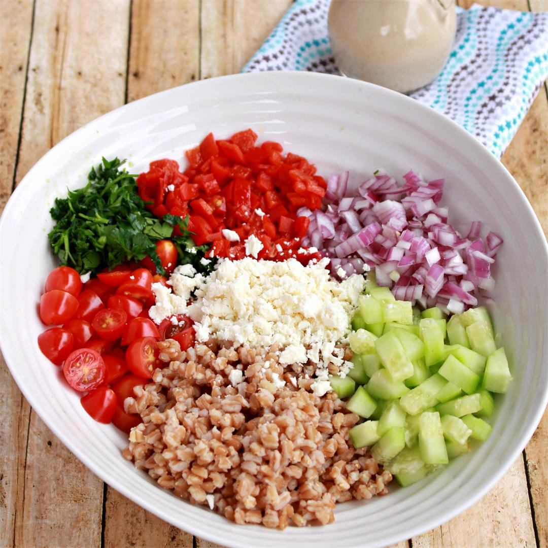Farro Salad with Tahini Vinaigrette
