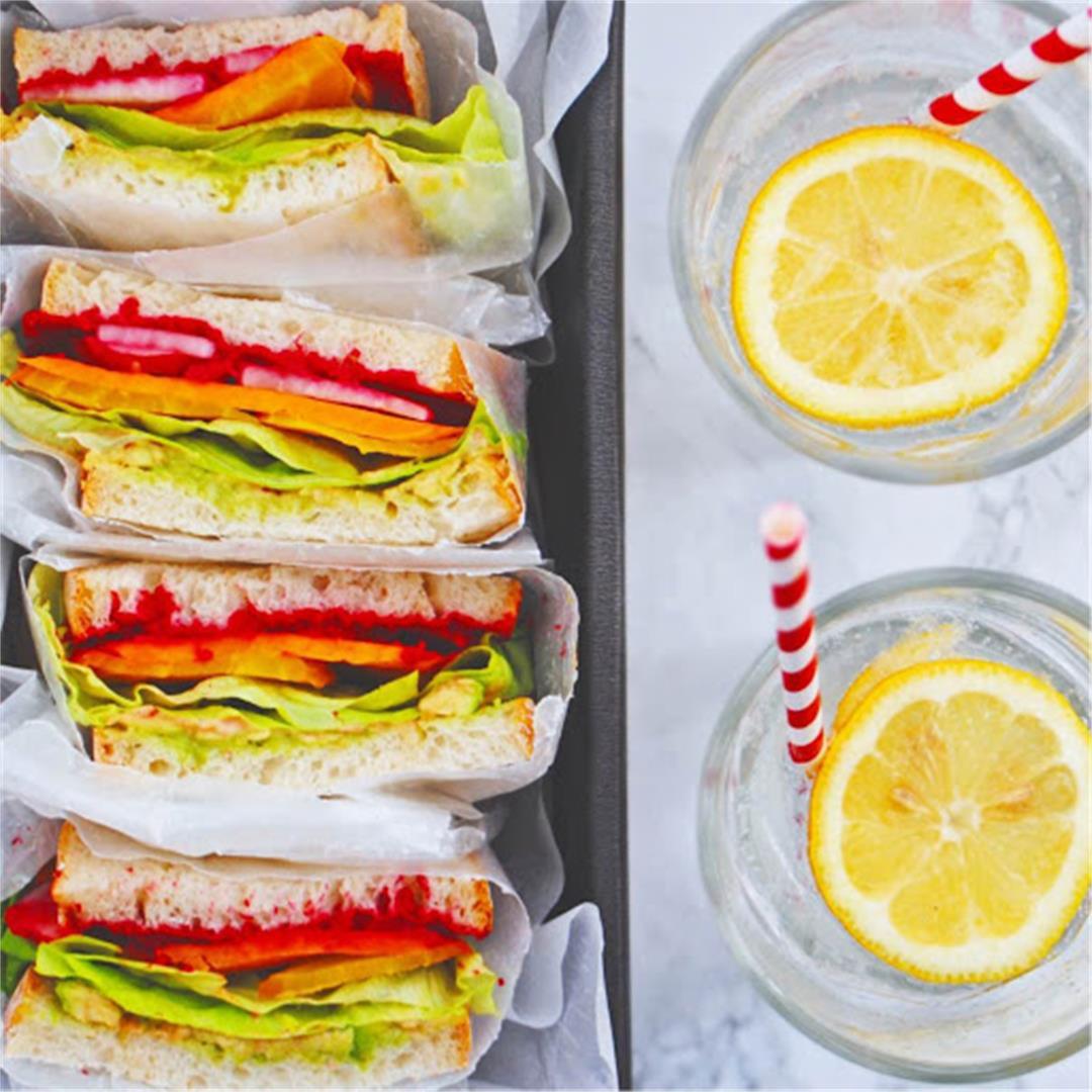 Vegan Rainbow Veggie Sandwich