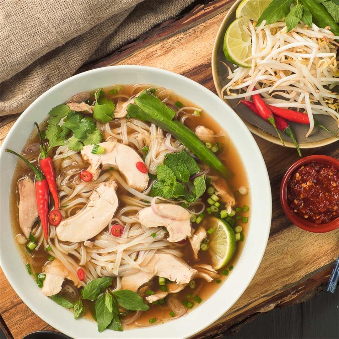 Pho Ga - The best Vietnamese chicken noodle soup!