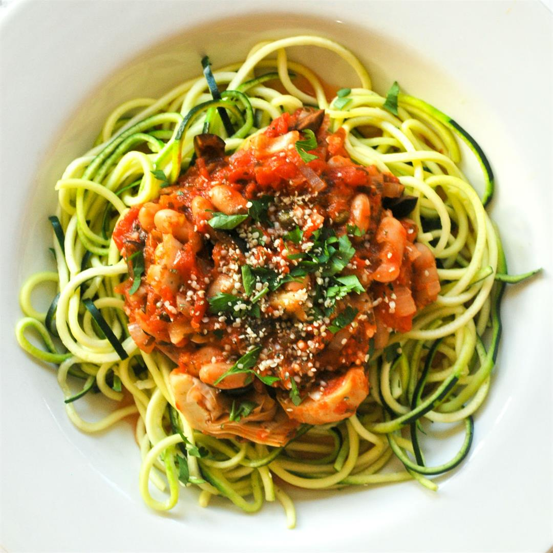 Vegan Puttanesca Zoodles