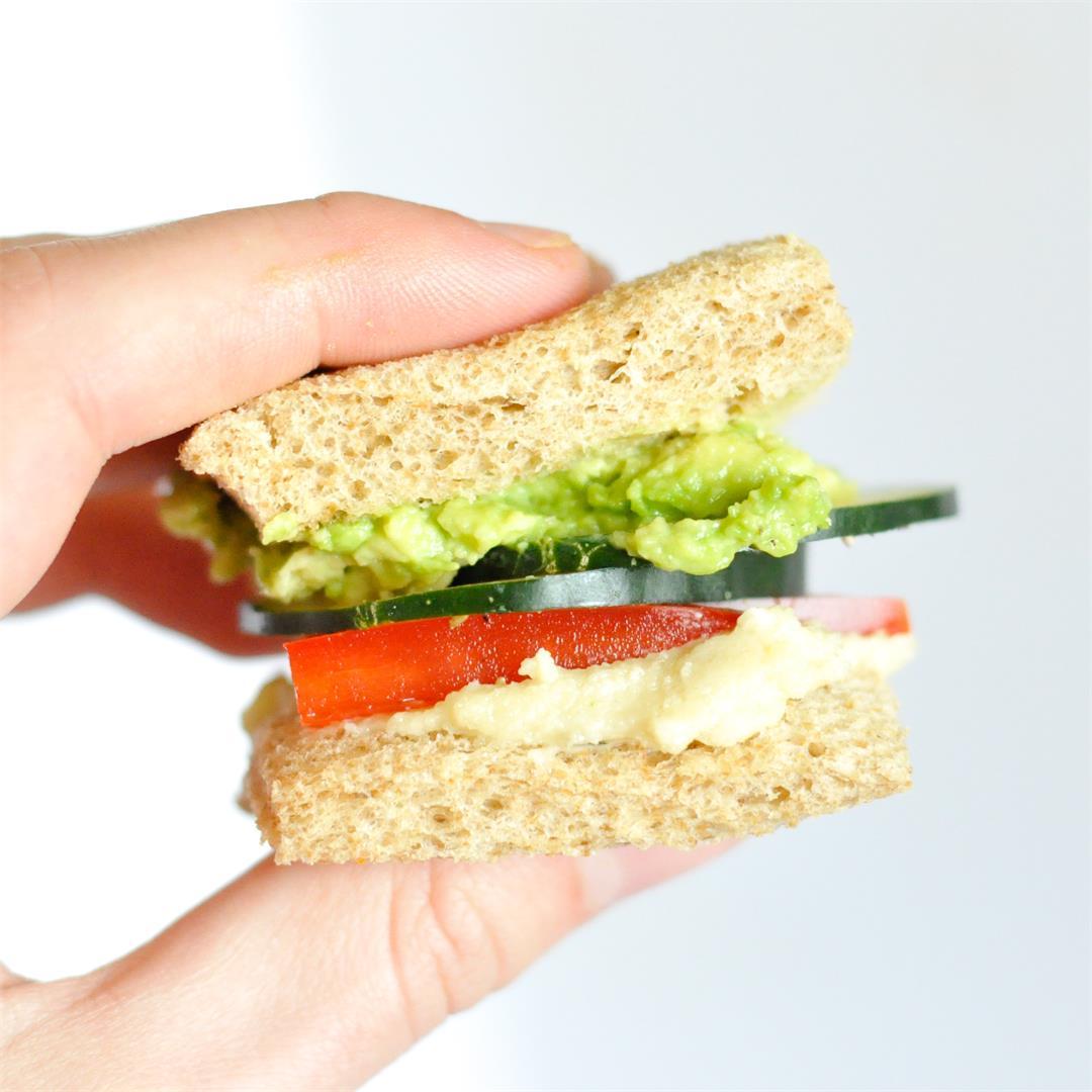 Vegan cucumber tea sandwiches with herbed cream cheese