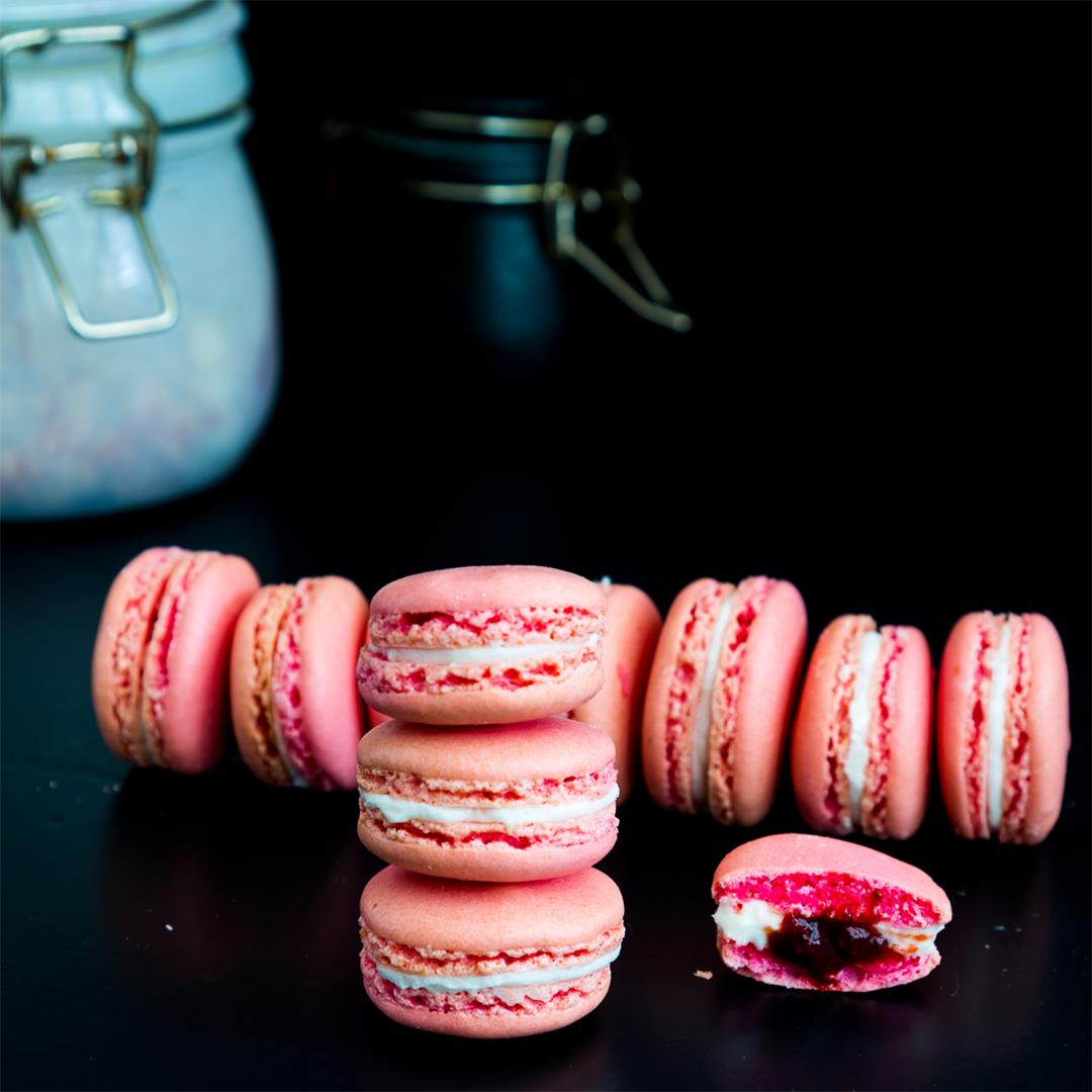 Strawberry French Macarons - Full Proof Recipe