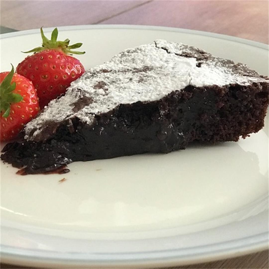 A popular chocolate cake - chewy edges and a soft, gooey centre