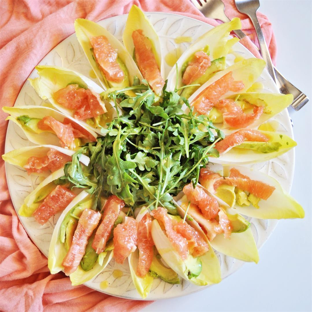 Grapefruit avocado and endive salad with a mustard vinaigrette