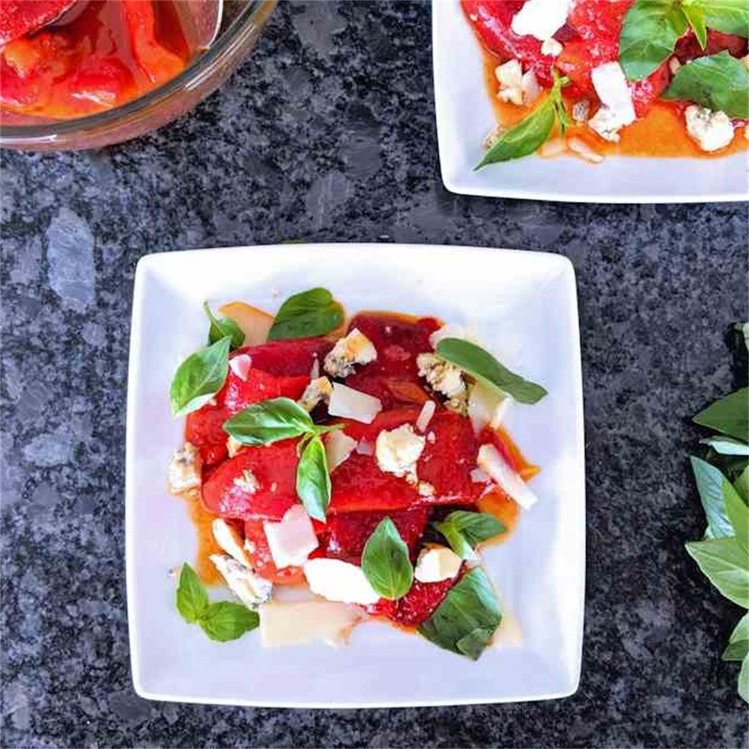 Roasted peppers and soft cheese salad