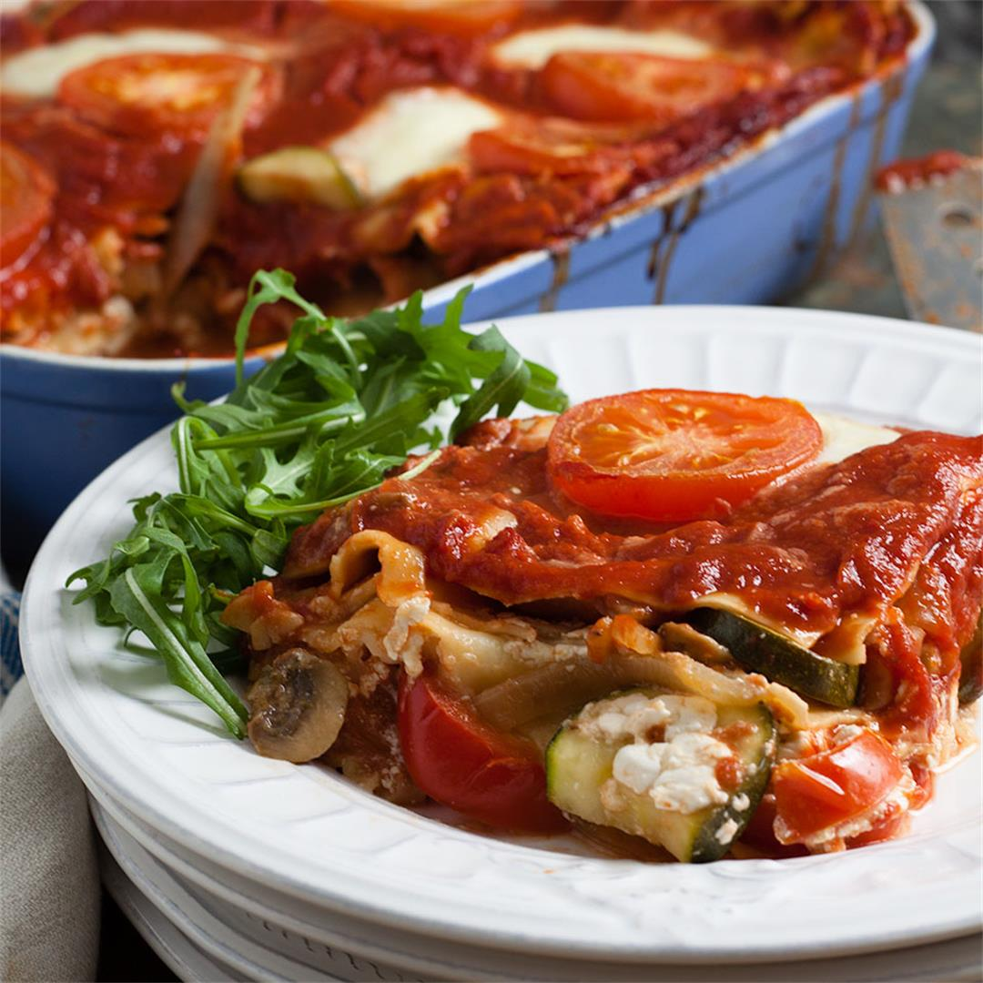 Three cheese vegetable lasagne