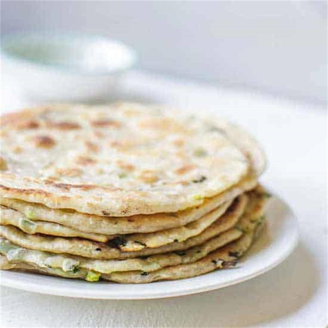 Chinese scallion pancakes with just 5 ingredients