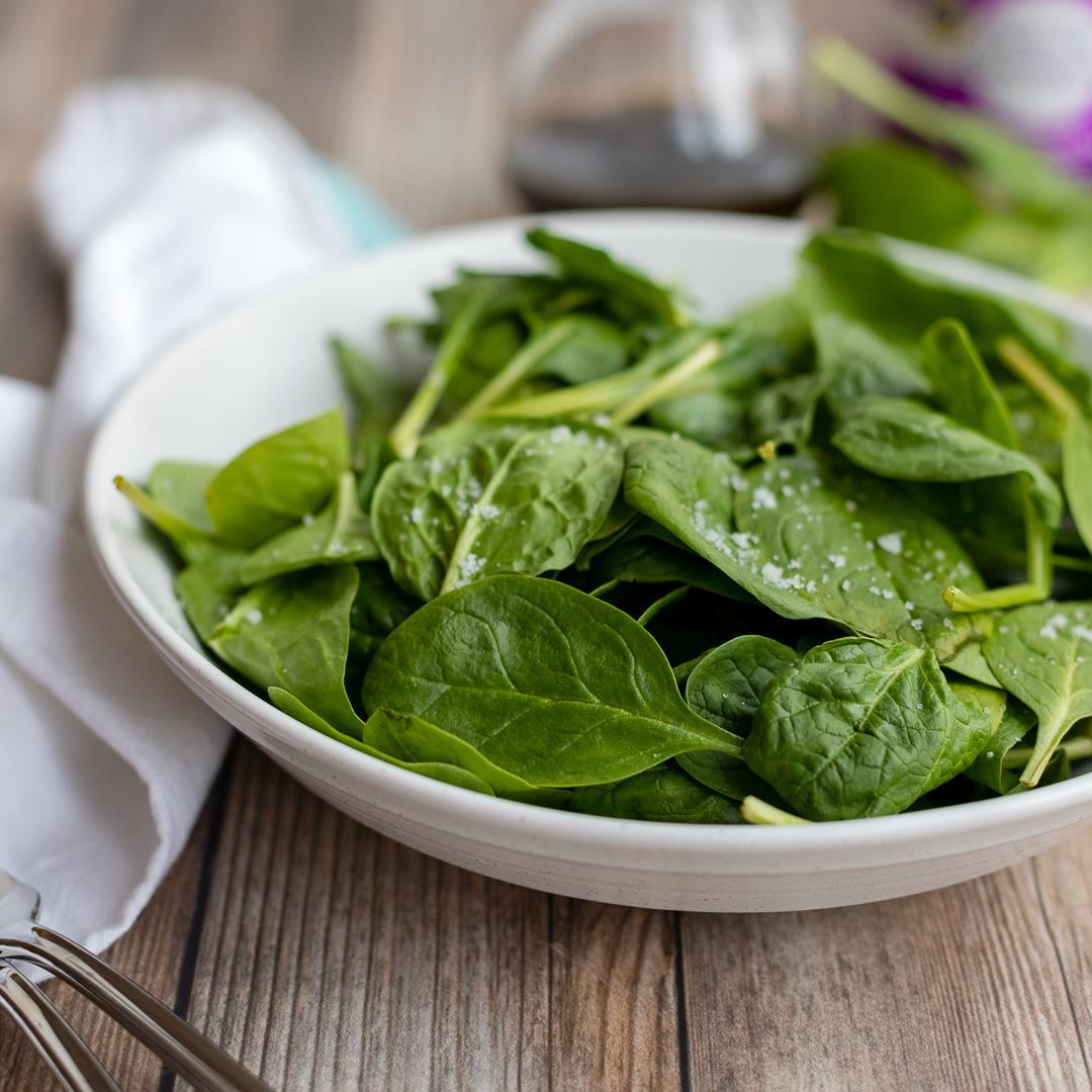Balsamic Spinach Salad with Sea Salt