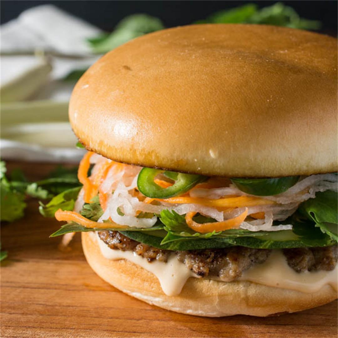 Vietnamese Lemongrass Pork Bahn Mi Burger