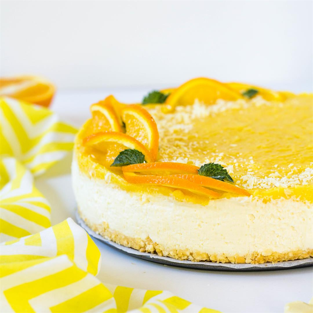 No bake White Chocolate Orange Cream Cheesecake