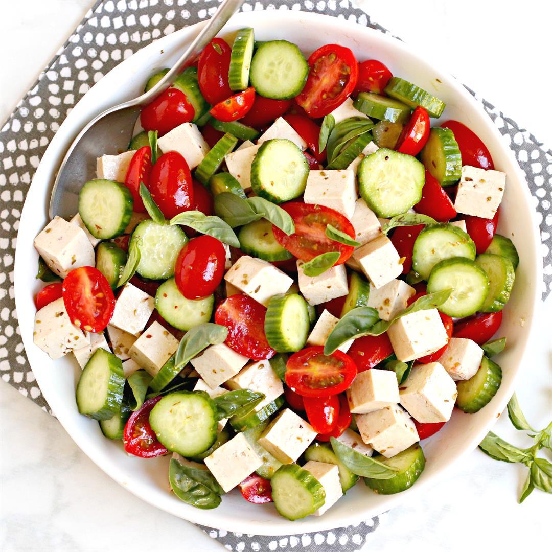 Vegan Tomato Cucumber Feta Salad