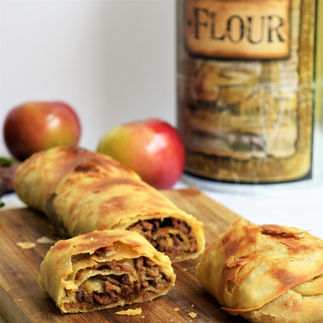 Savory Strudel with Lamb, Apples and Prunes