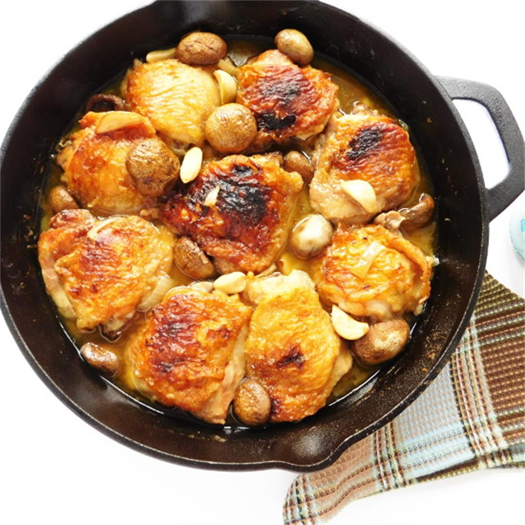 Skillet Chicken, Mushrooms & Garlic
