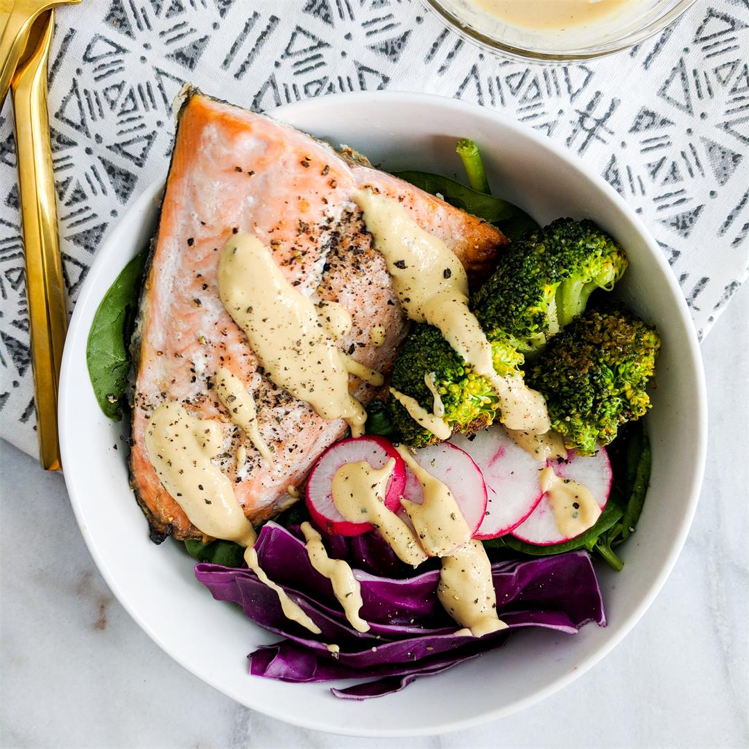 Rainbow Salmon Bowls with a Tangy Tahini Drizzle!