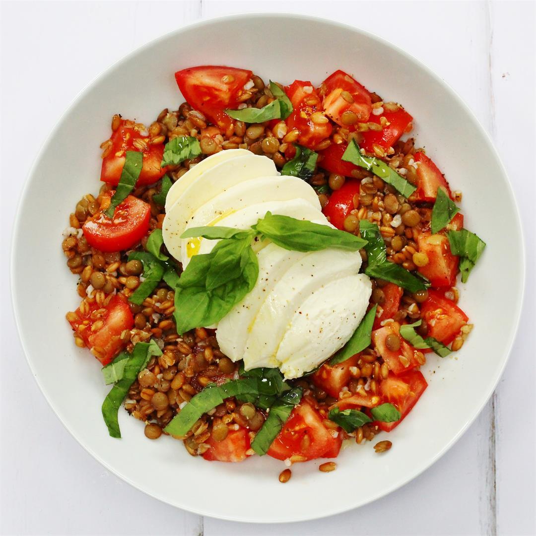 Spelt & Lentil Caprese Salad
